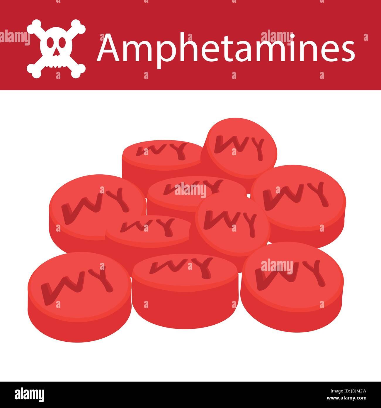 no drugs no amphetamines amphetamines flat style isolated on white