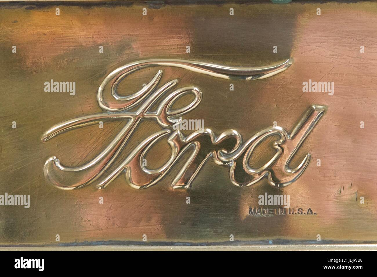Ford logo started on a Model T brass radiator - Stock Image