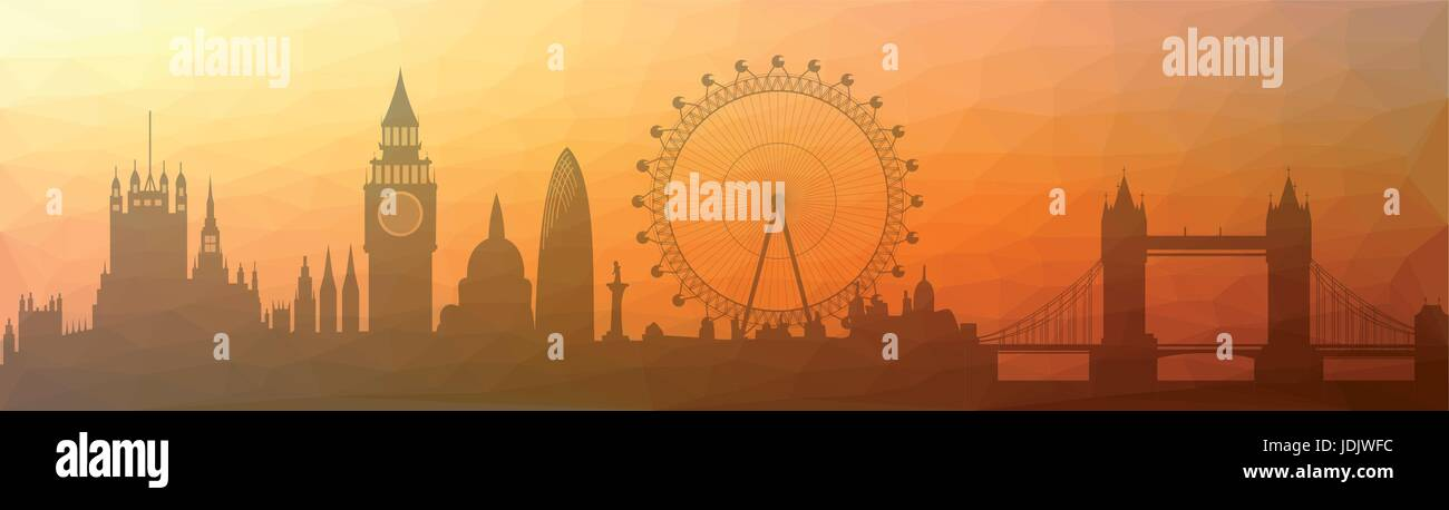 Illustration of the London skyline - triangulated - Stock Vector