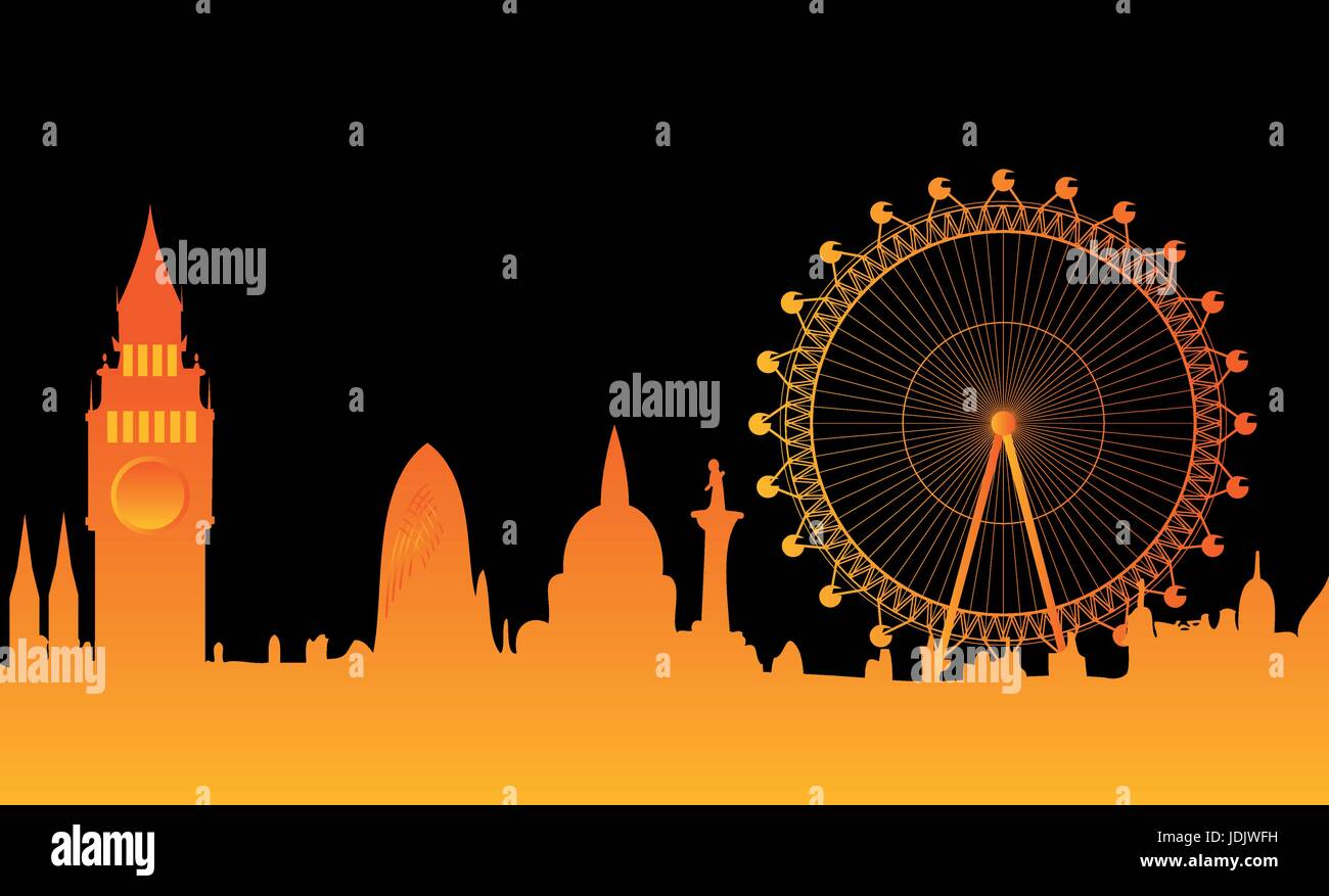 Illustration of the London skyline - Stock Vector