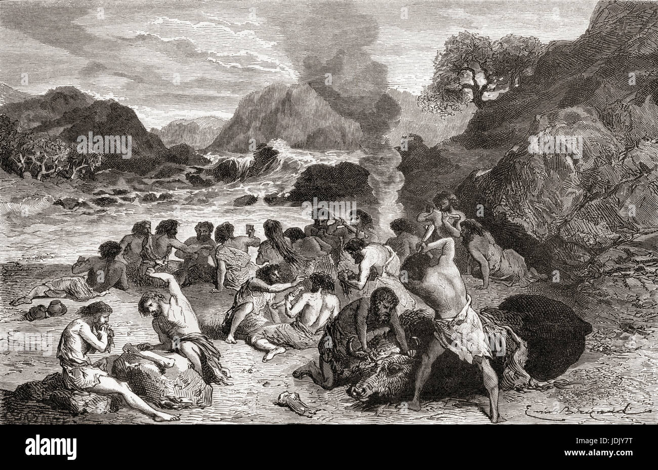 Neanderthal man feasting on their kill during prehistoric times. From L'Homme Primitif, published 1870. - Stock Image