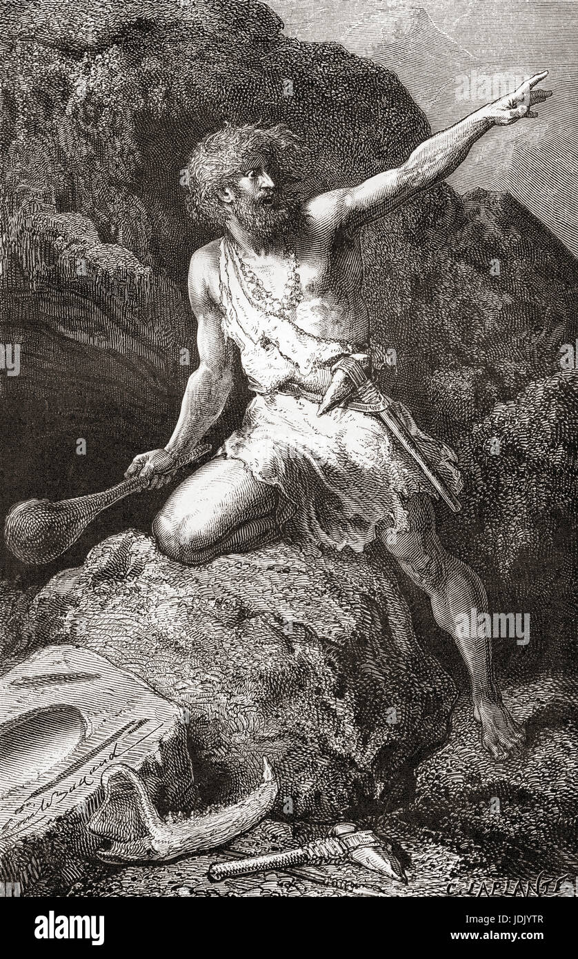 Neolithic man from the New Stone Age aka Age of the Polished Stone.  From L'Homme Primitif, published 1870. - Stock Image