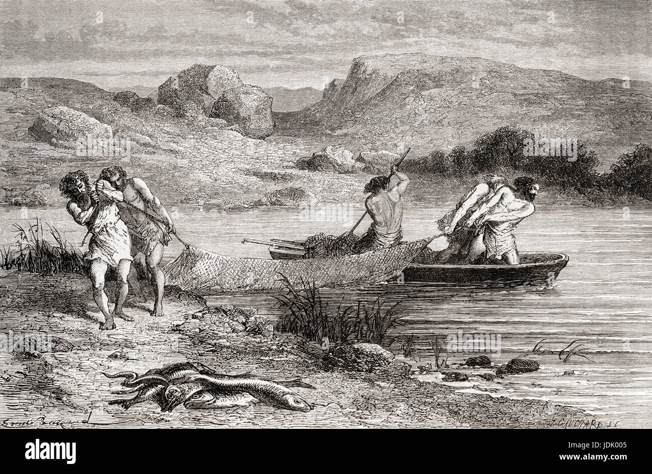 Fishermen from the Neolithic Age aka New Stone Age or Age of the Polished Stone.  From L'Homme Primitif, published - Stock Image