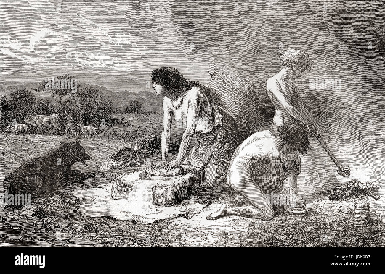 Making bread during the Neolithic Age aka New Stone Age or Age of the Polished Stone. From L'Homme Primitif, - Stock Image
