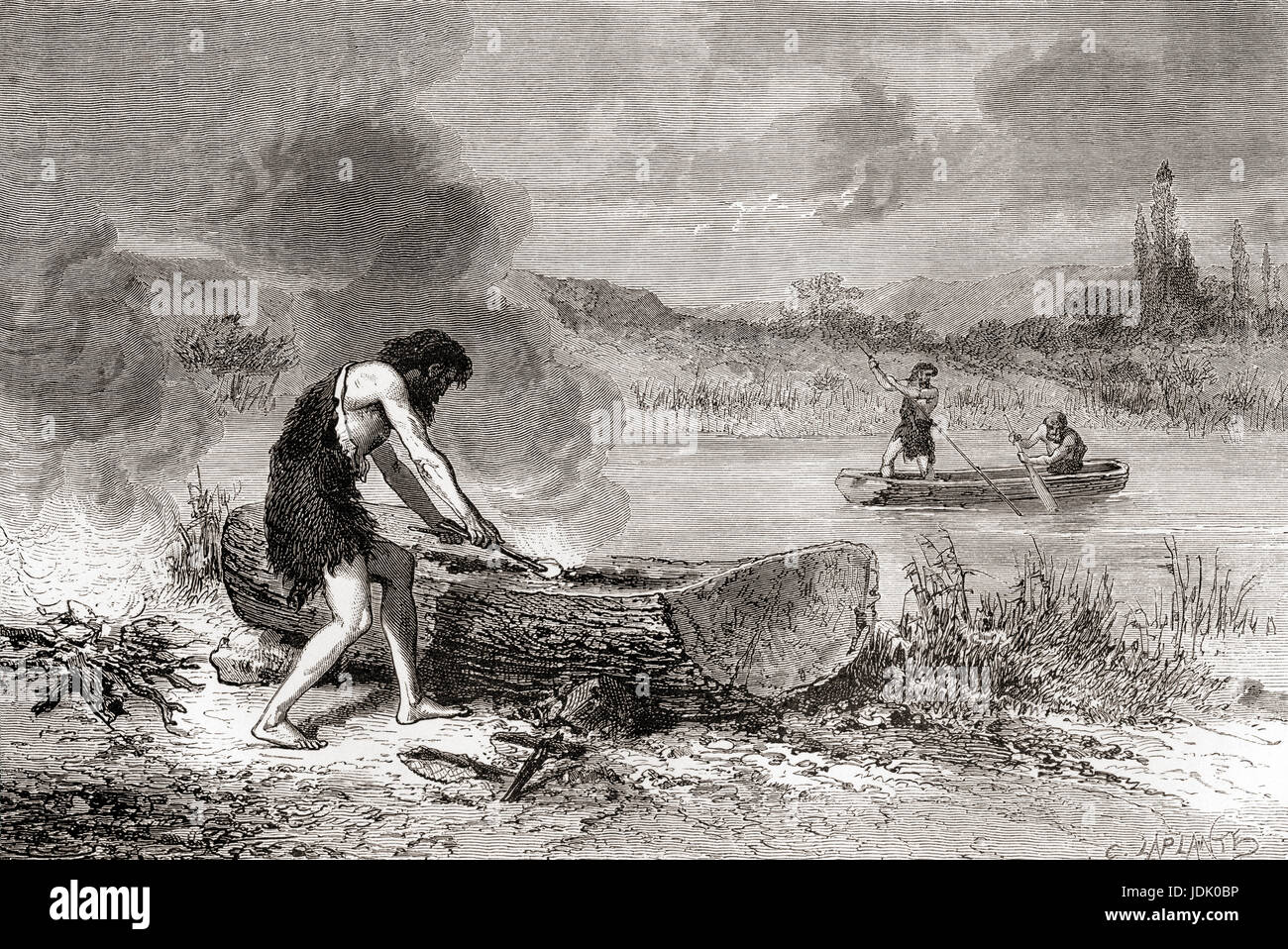 The first navigators during the Neolithic Age aka New Stone Age or Age of the Polished Stone.  From L'Homme - Stock Image
