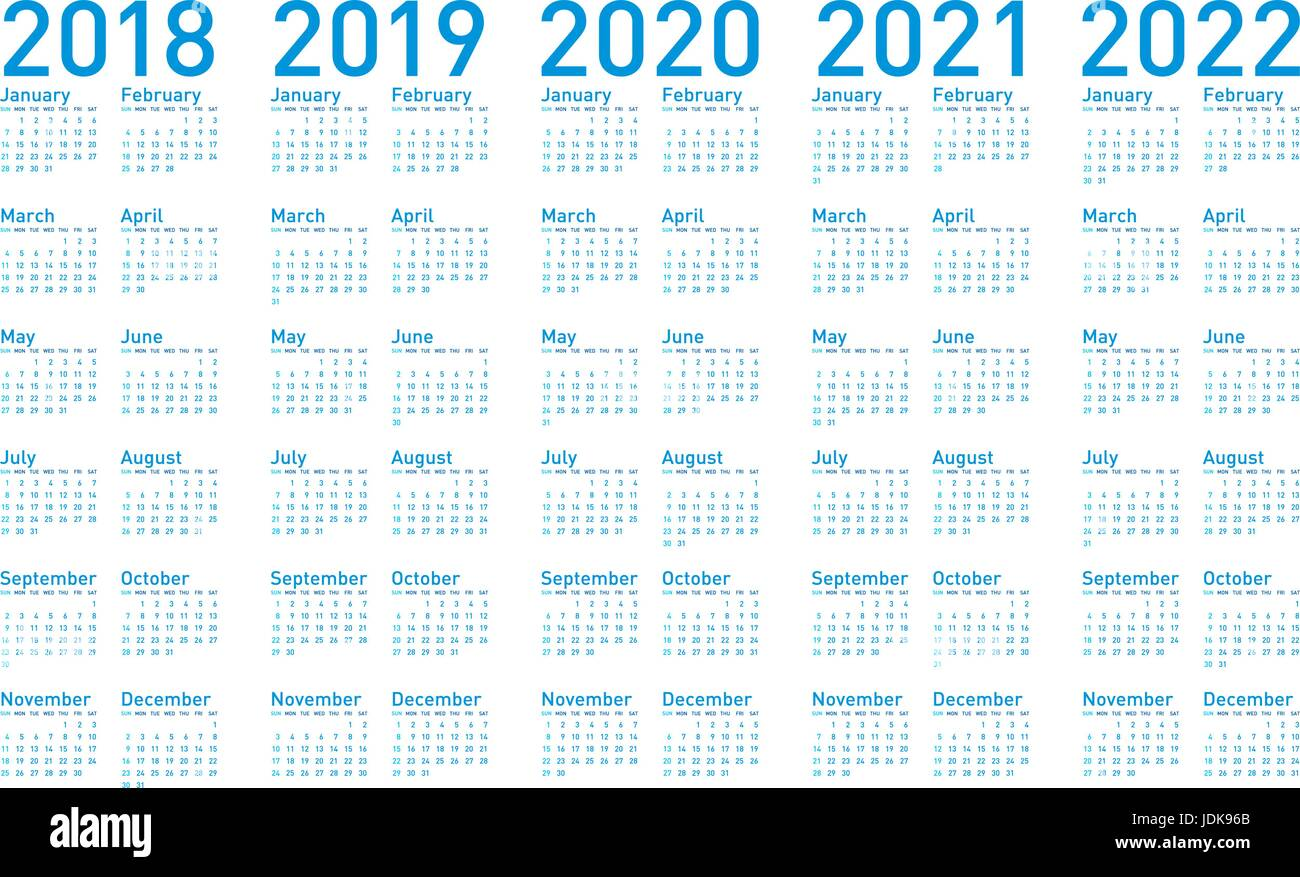 simple blue calendar for years 20182019 2020 2021 and 2022 in