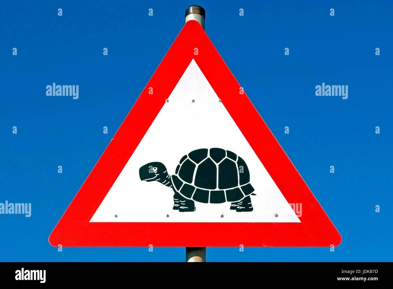Road signs - esteem tortoises - Africa, Verkehrsschilder - Achtung Schildkroeten - Afrika Stock Photo