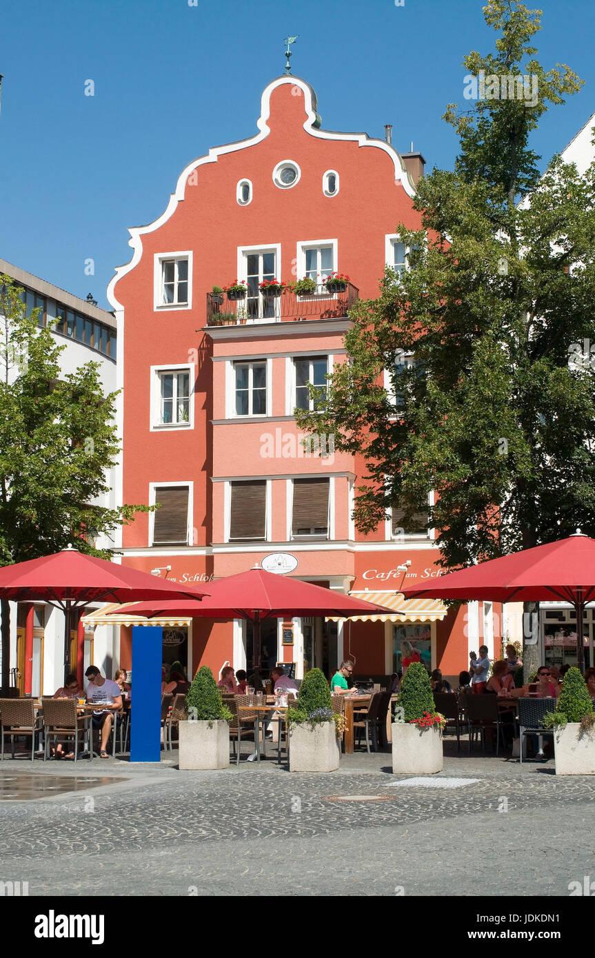 Europe, Germany, Bavaria, the Danube, Ingolstadt, parade place, street cafe, , Europa, Deutschland, Bayern, Donau, - Stock Image