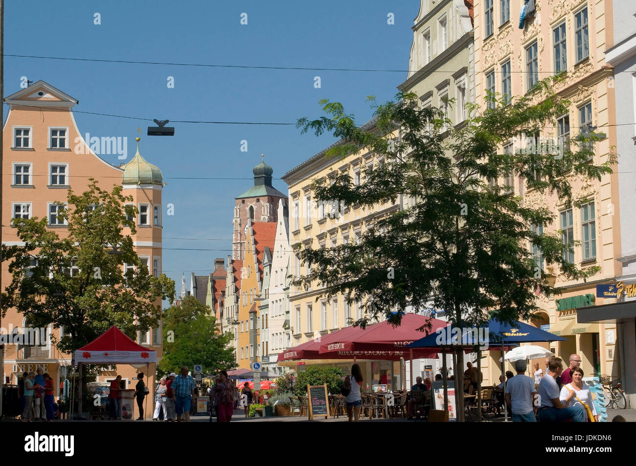 Europe, Germany, Bavaria, Ingolstadt, Ludwigstrasse, look to the dear woman's cathedral, , Europa, Deutschland, - Stock Image