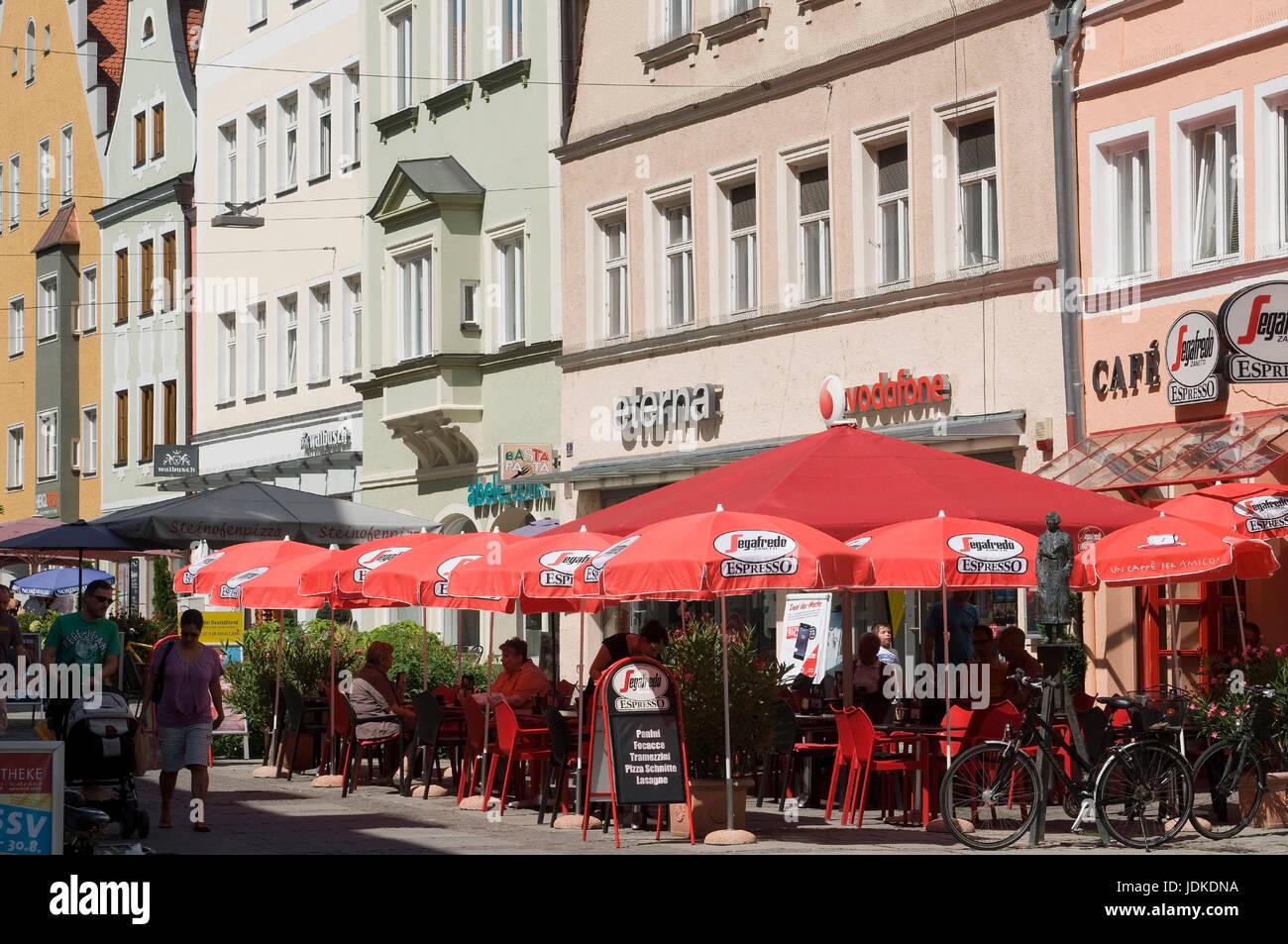 Europe, Germany, Bavaria, Ingolstadt, Theresienstrasse, street cafe, , Europa, Deutschland, Bayern, Theresienstraße, - Stock Image