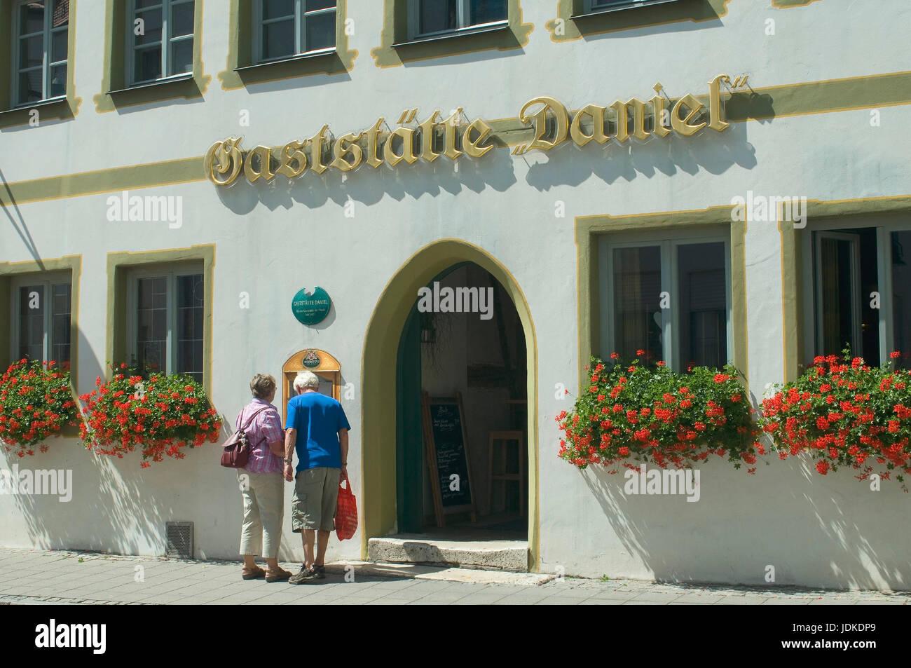 Europe, Germany, Bavaria, Ingolstadt, Old Town, historical restaurant Daniel, , Europa, Deutschland, Bayern, Altstadt, - Stock Image