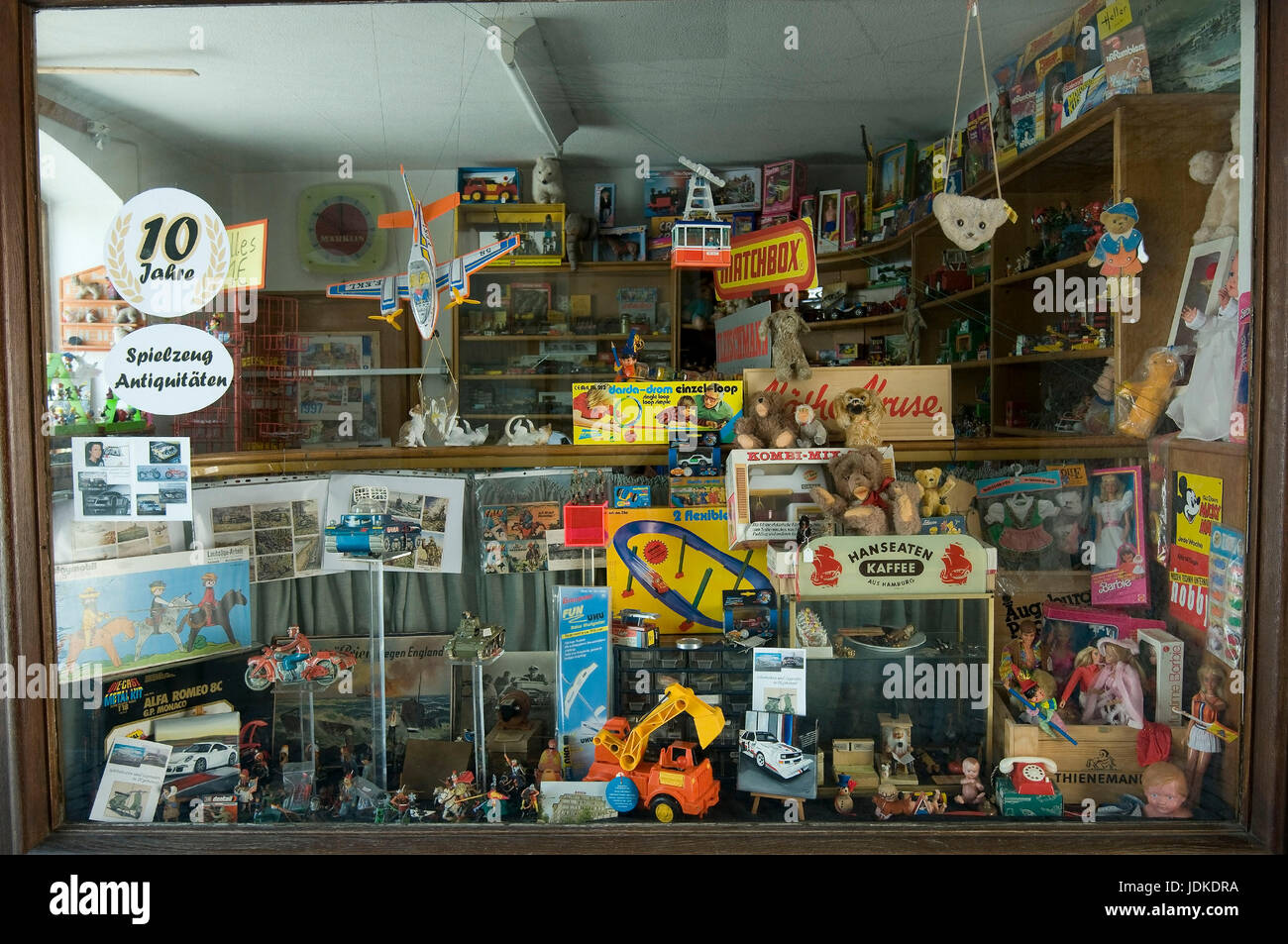 Europe, Germany, Bavaria, Ingolstadt, freddy?'s toys retail shop for old toys in the cross gate, , Europa, Deutschland, - Stock Image