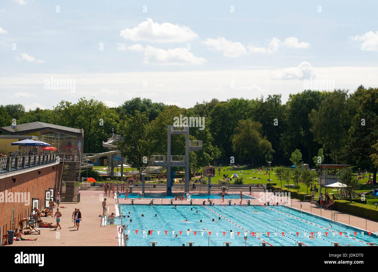 Europe, Germany, Bavaria, Ingolstadt, outdoor swimming pool in the city fortification,  , Europa, Deutschland, Bayern, - Stock Image