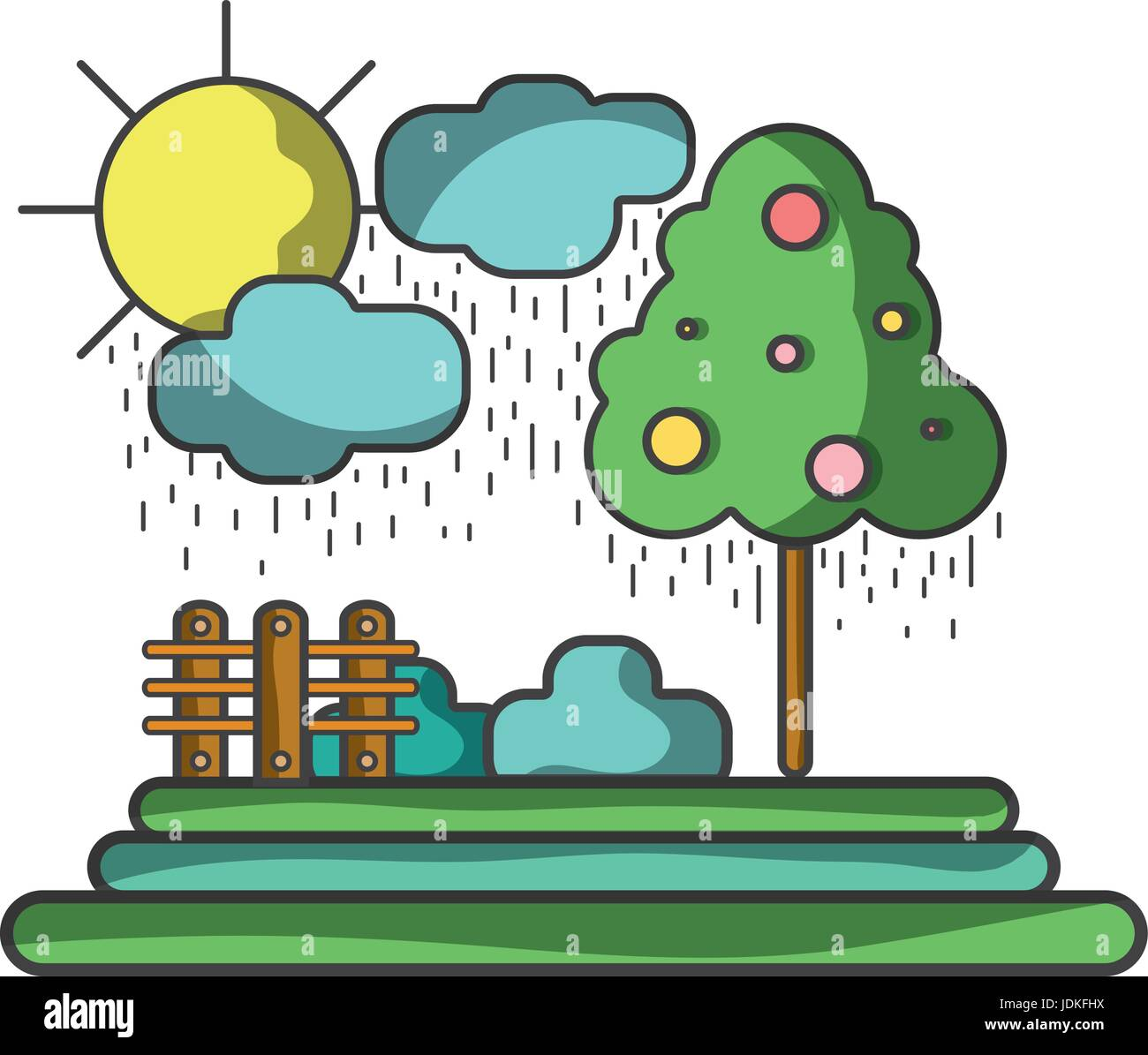 counds raining with tree and grid wool - Stock Vector