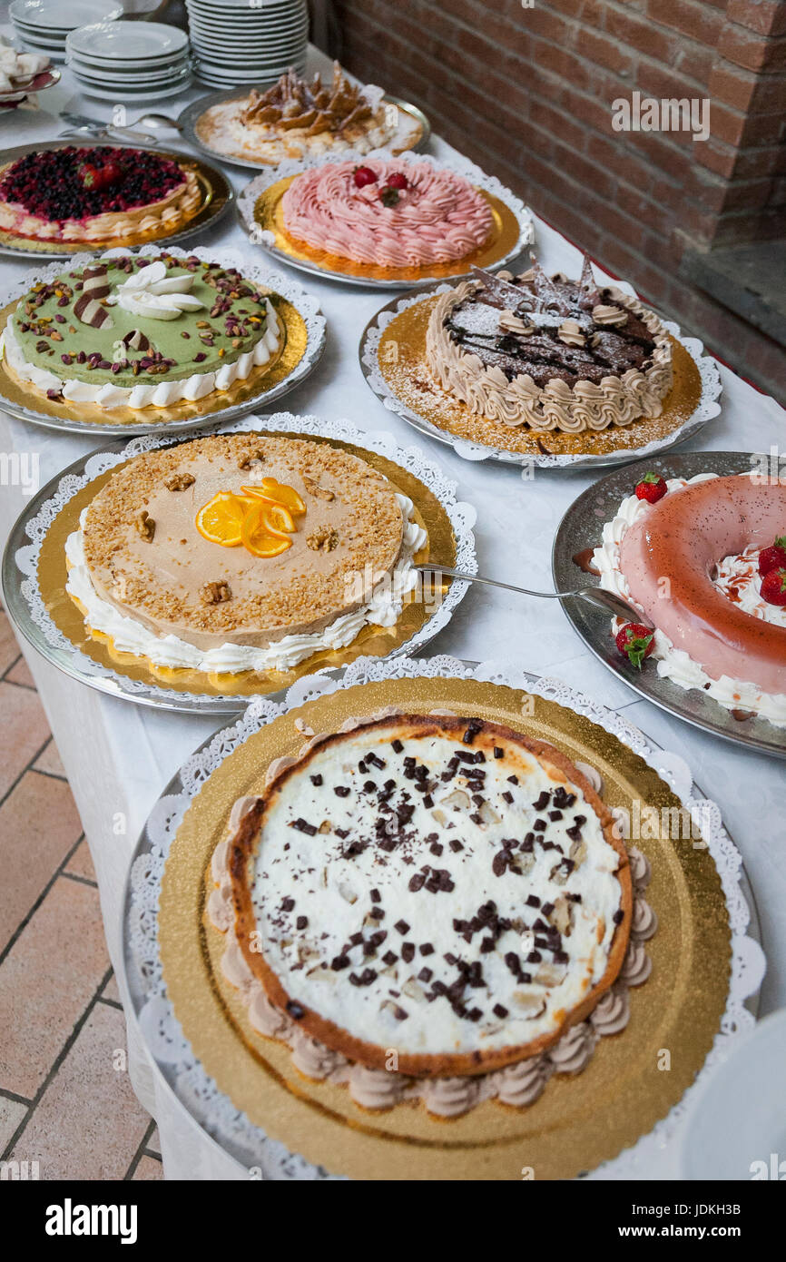 Party cakes wide angle - Stock Image