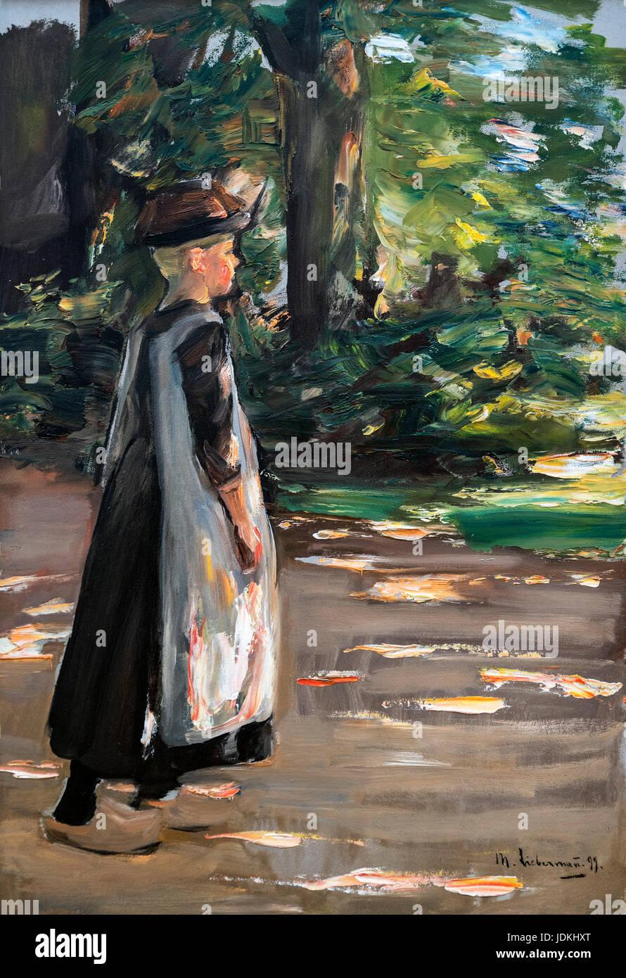 Max Liebermann painting. Girl Walking (Gehendes Mädchen) by Max Liebermann (1847-1935), 1897 - Stock Image