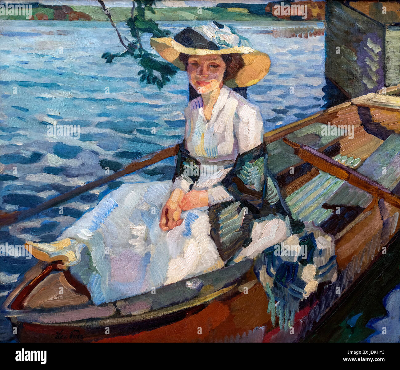 Lady in a Boat (Dame im Kahm) by Leo Putz (1869-1940), 1910 - Stock Image