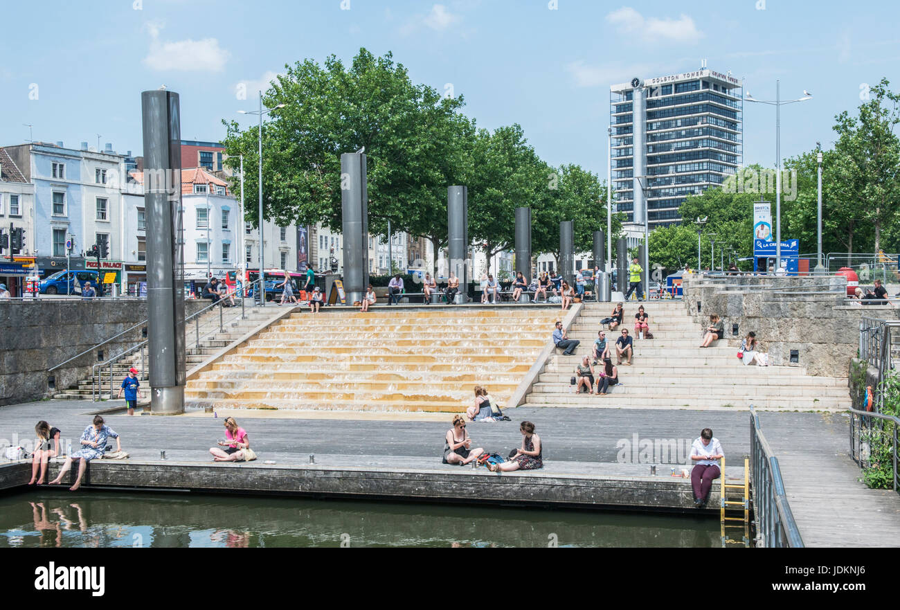 Bristol City Centre on a hot summer lunchtime - Stock Image