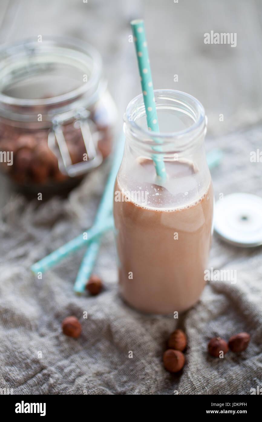 Homemade dairy free hazelnut milk - Stock Image