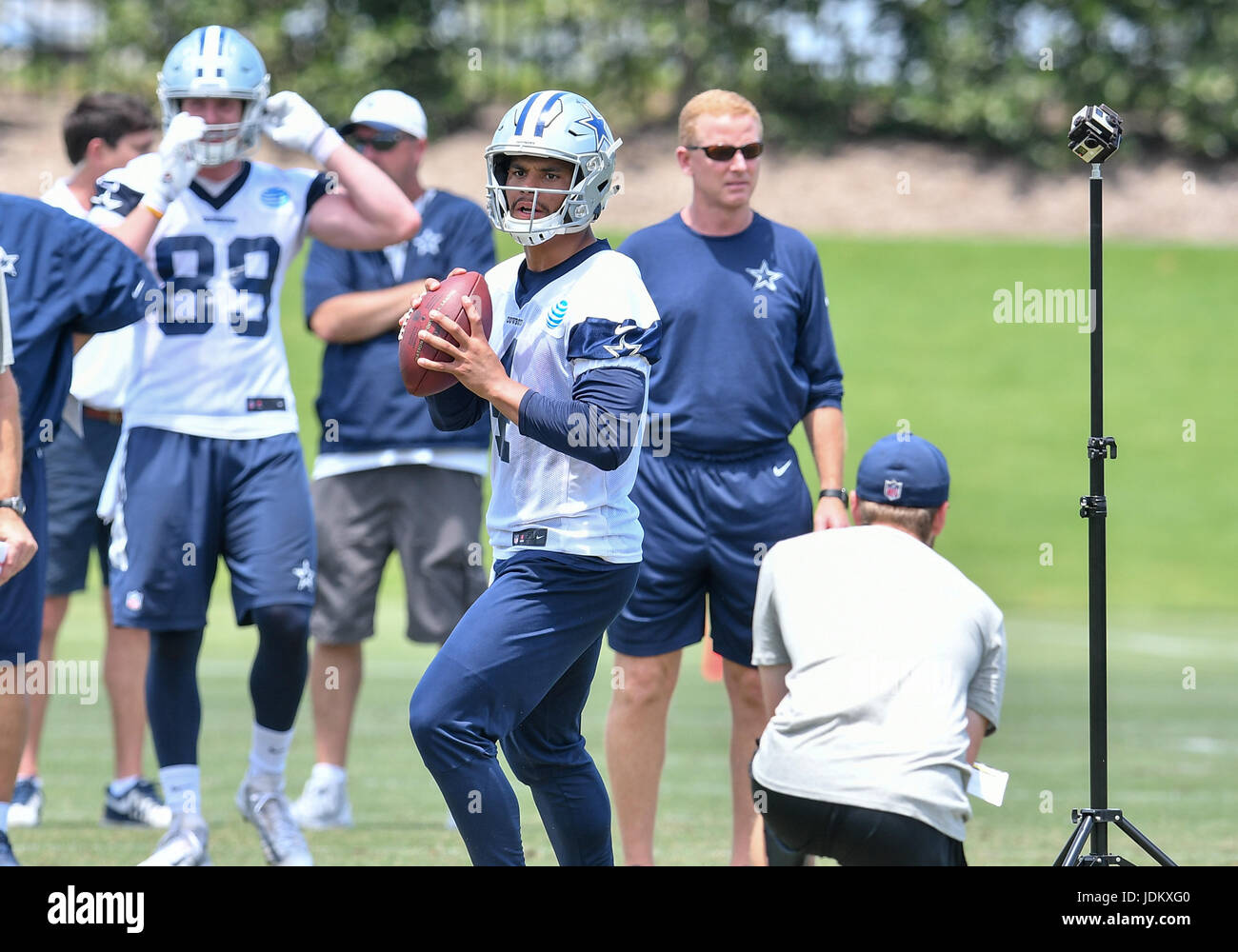 June 14th, 2017: .Dallas Cowboys quarterback Dak Prescott (4).during an NFL minicamp at The Star in Frisco, TX.Manny Stock Photo