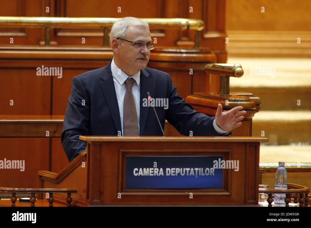Bucharest, Romania. 21st June, 2017. Social Democratic Party leader Liviu Dragnea speaks at the parliament during - Stock Image