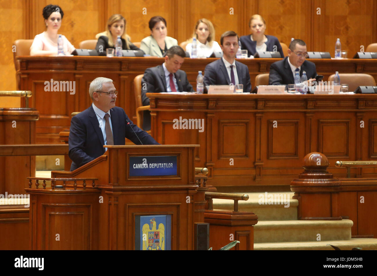 Bucharest, Romania. 21st June, 2017. Social Democratic Party leader Liviu Dragnea speaks at the parliament before - Stock Image