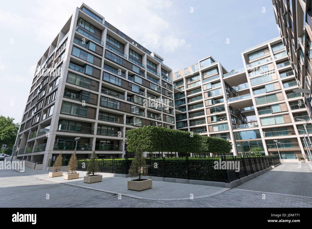 London, UK. 21st June, 2017. View of occupied apartment blocks in Kensington Row Complex. It was announced that Stock Photo