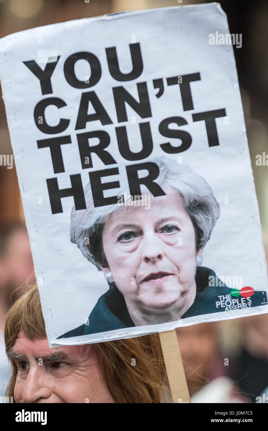 """London, UK. 21st June, 2017. """"Day of Rage"""" march and protest in Westminster after the Queen's Speech. Many were - Stock Image"""