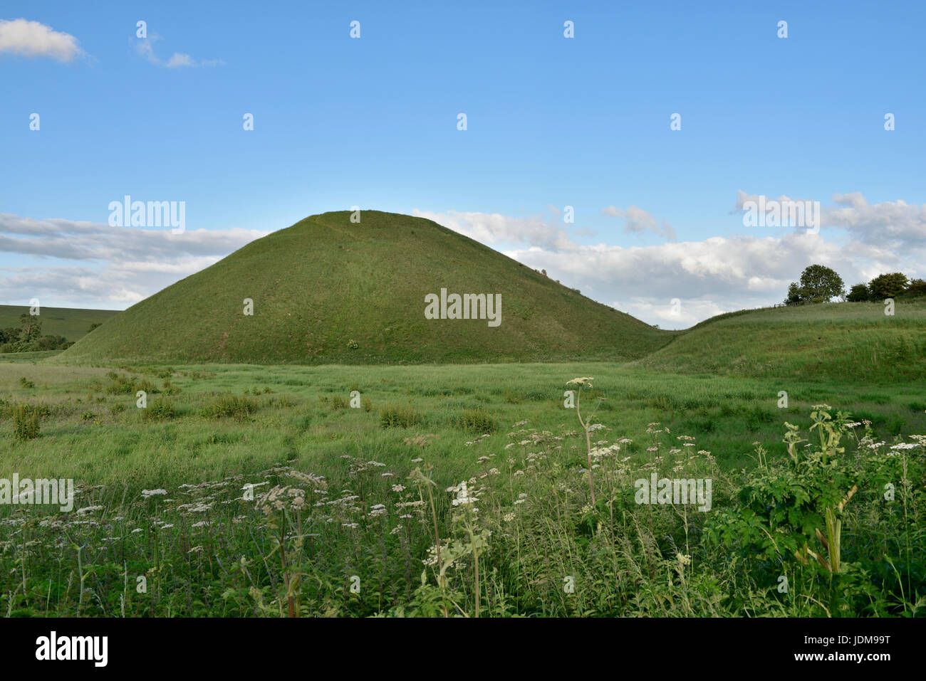 Mysterious ancient Silbury Hill prehistoric artificial chalk mound, largest man-made mound in Europe, Wiltshire, - Stock Image