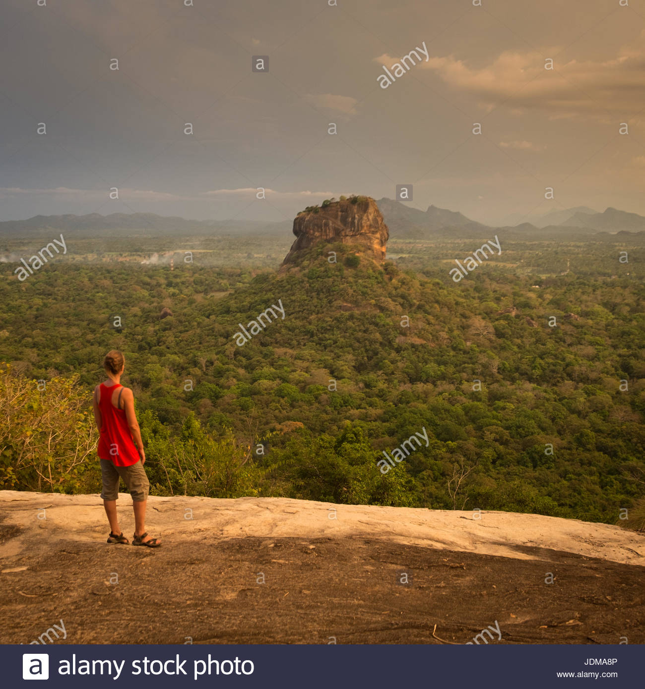 A German woman looks over the jungle at Sigiriya at sunset. - Stock Image