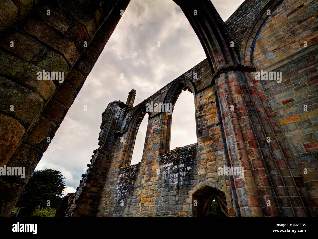 A dramatic perspective of a section of Bolton Abbey - Stock Image