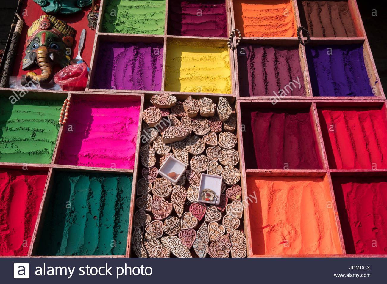 Display of printing stamps and dyes at a market stall in Kathmandu. - Stock Image