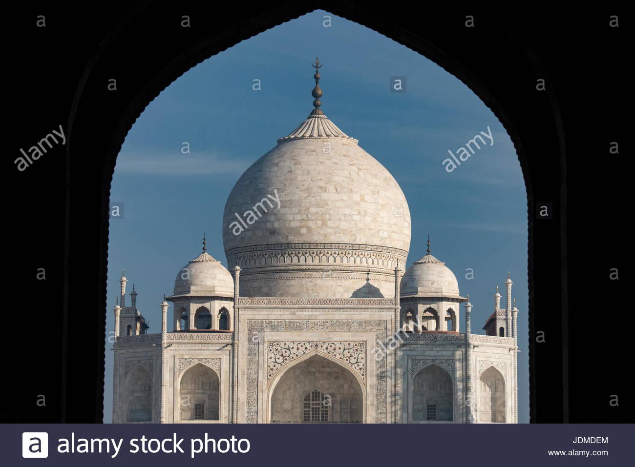Entrance to the Taj Mahal in Agra. - Stock Image