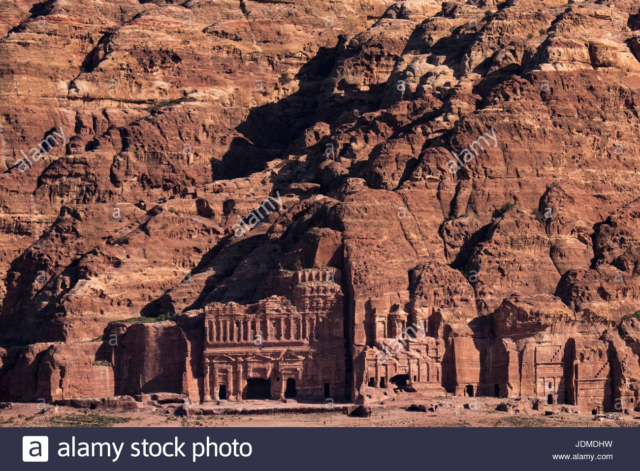 View of the Royal Tombs in Petra. Stock Photo
