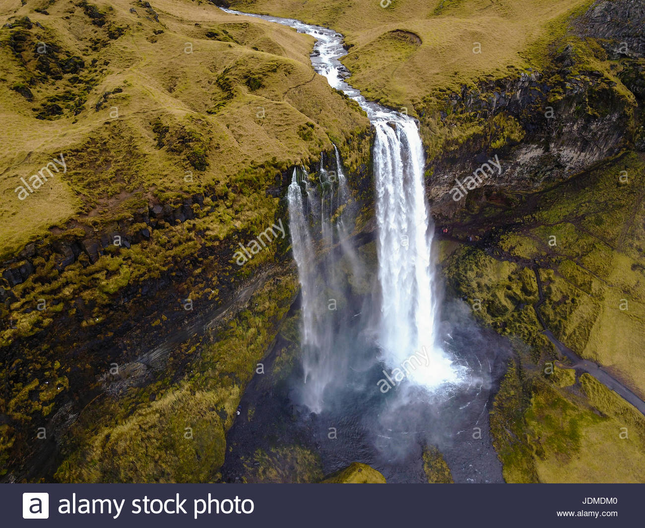 An aerial of Seljafoss waterfall in Iceland. - Stock Image