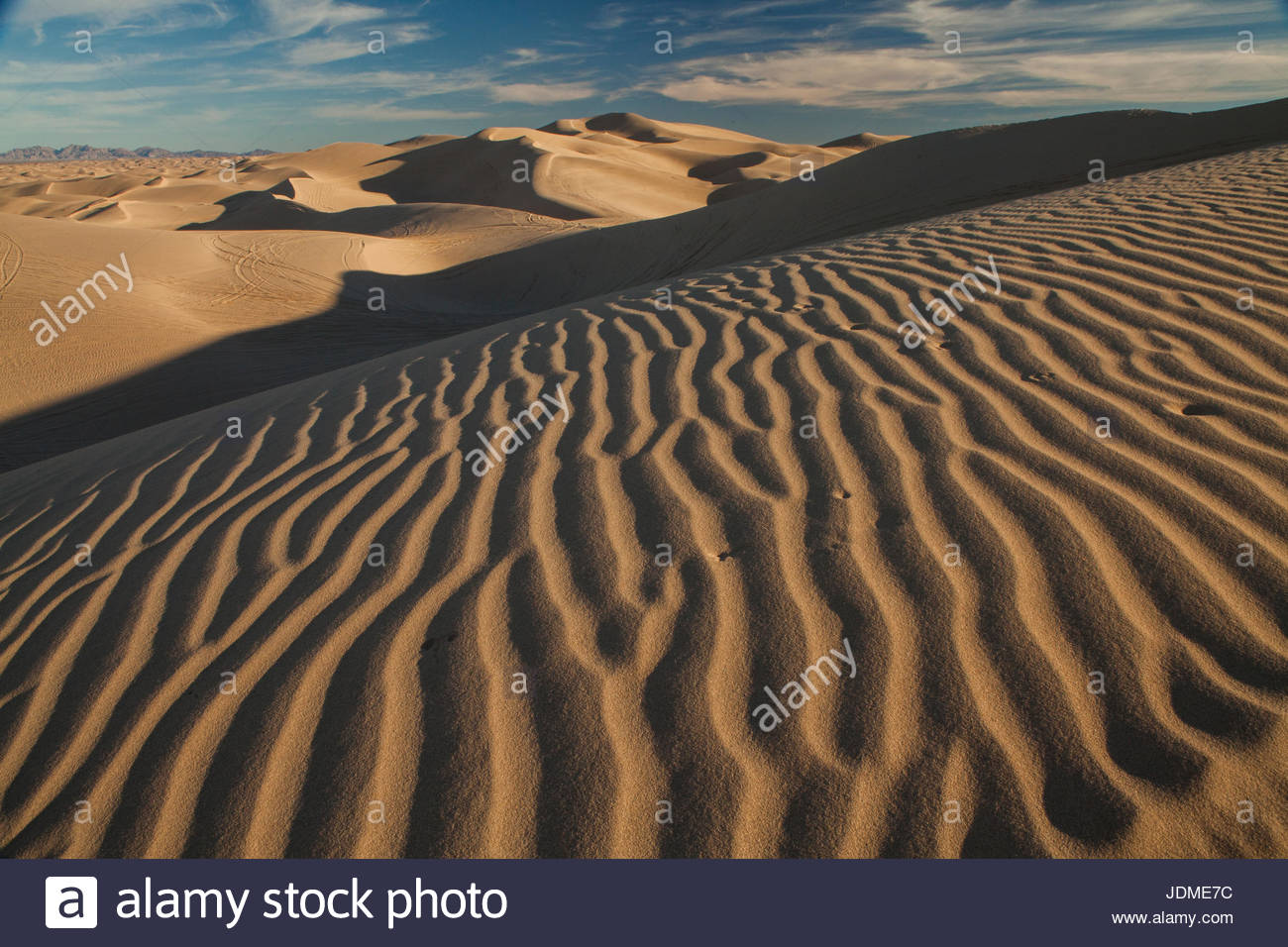 Wind sculpted dunes in California's Imperial Sand Dunes Recreation Area. - Stock Image