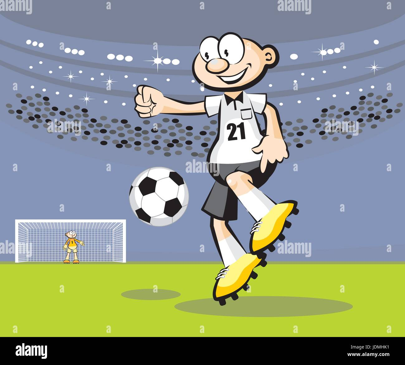 Cartoon Soccer player. Conceptual vector illustration. - Stock Vector