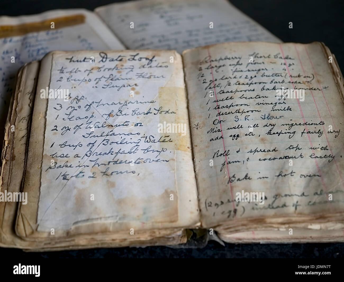 Great Grandmothers recipe book - Stock Image