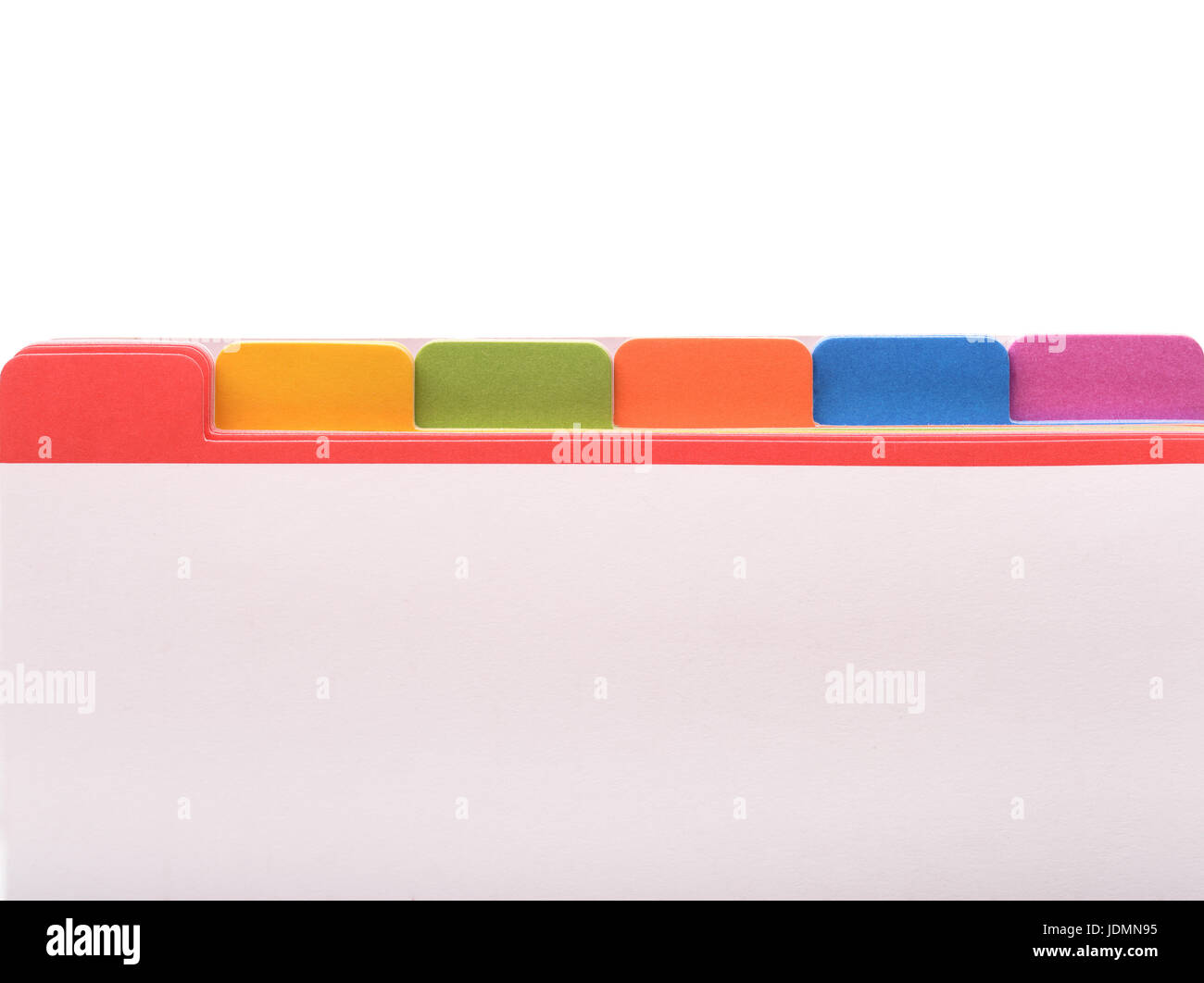 File folder with color tags and blank space - Stock Image
