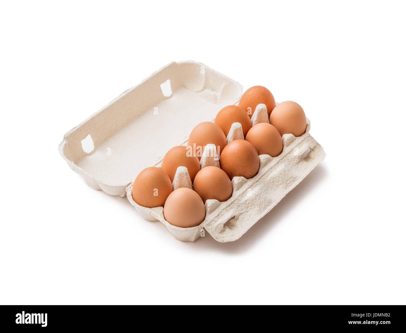 Organic Ten Egg Pack Isolated on White - Stock Image