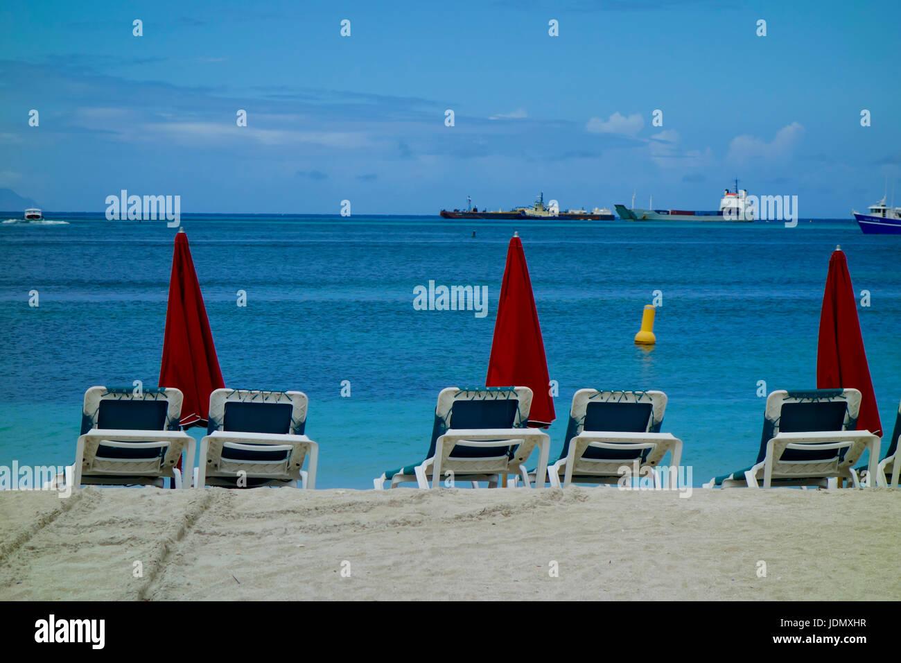 Orient Bay and Beach at Saint Maarten or Saint Martin, Caribbean, West Indies. - Stock Image