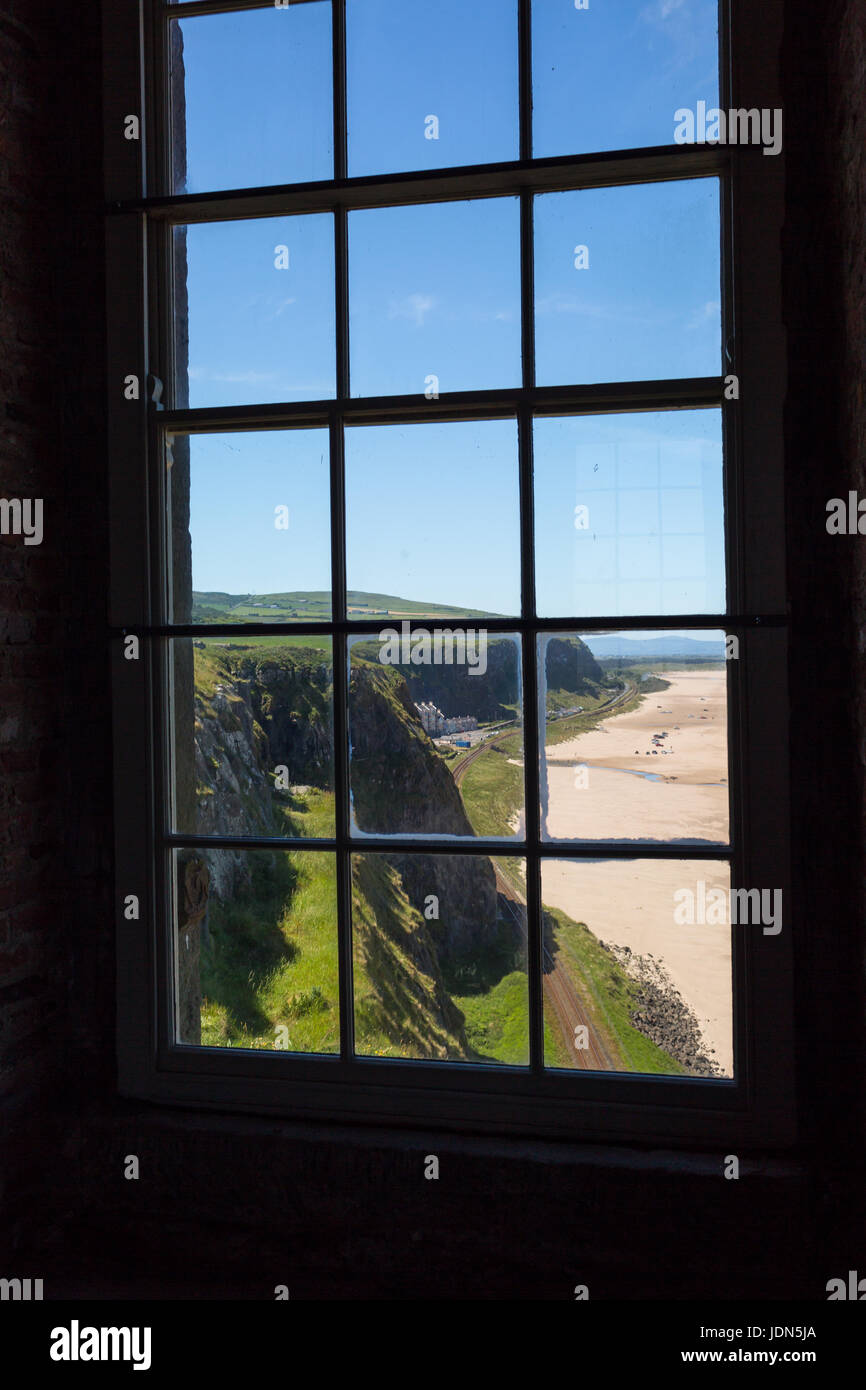 Railway Line at Downhill, Belfast-Derry Line from inside Mussenden Temple - Stock Image