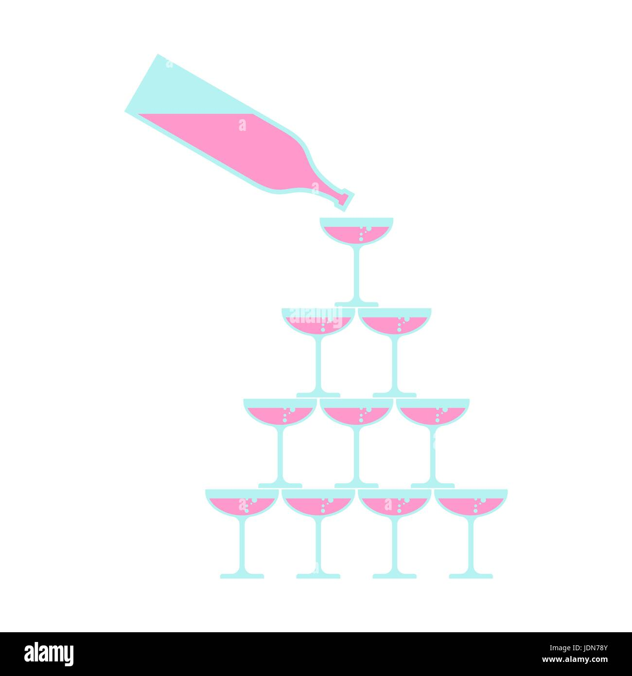 Bottle pour Glass of champagne tower. Alcohol in glass belfry. Wine pyramid. Cocktail hill - Stock Image