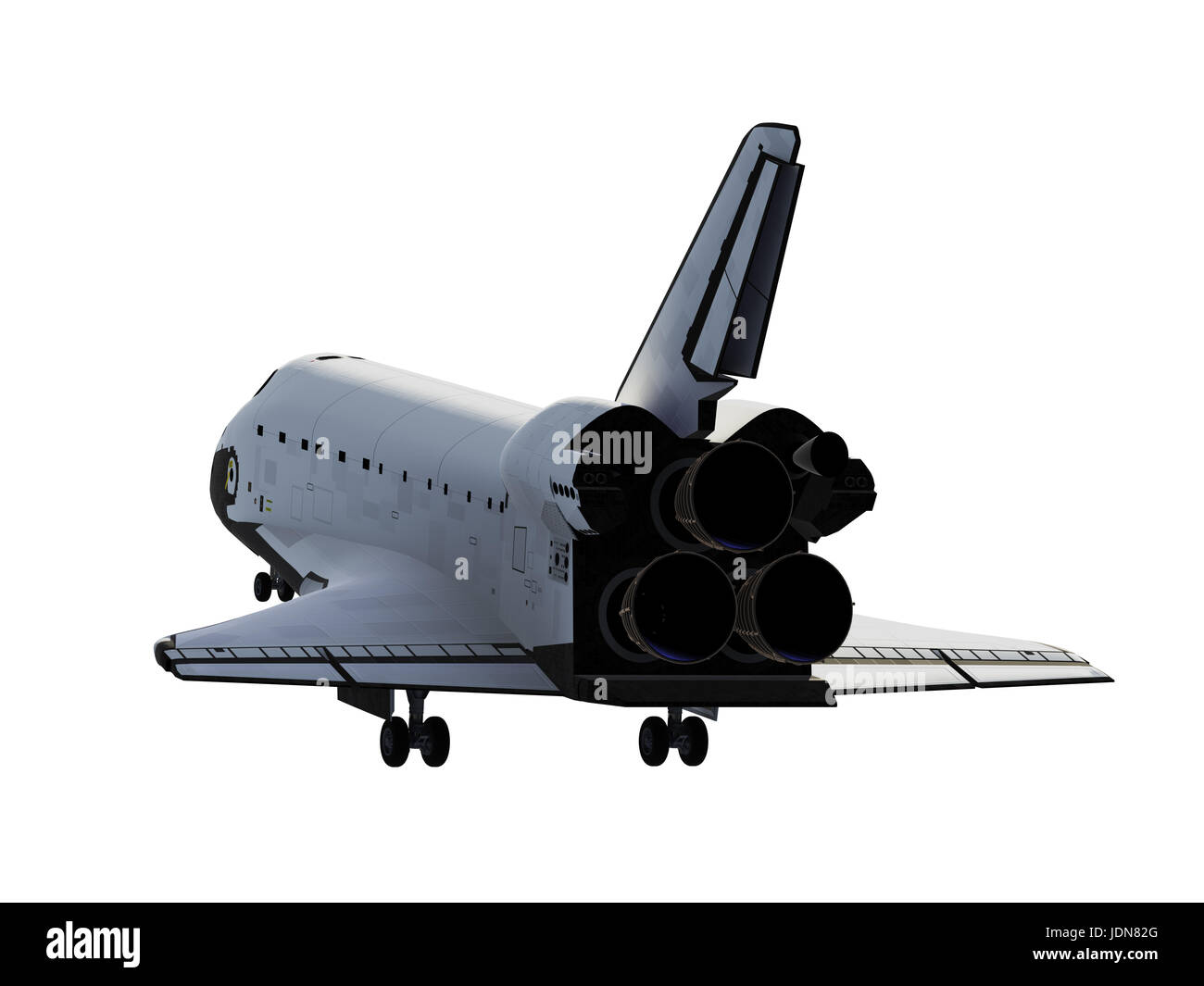 Space Shuttle Landing On White Background - Stock Image