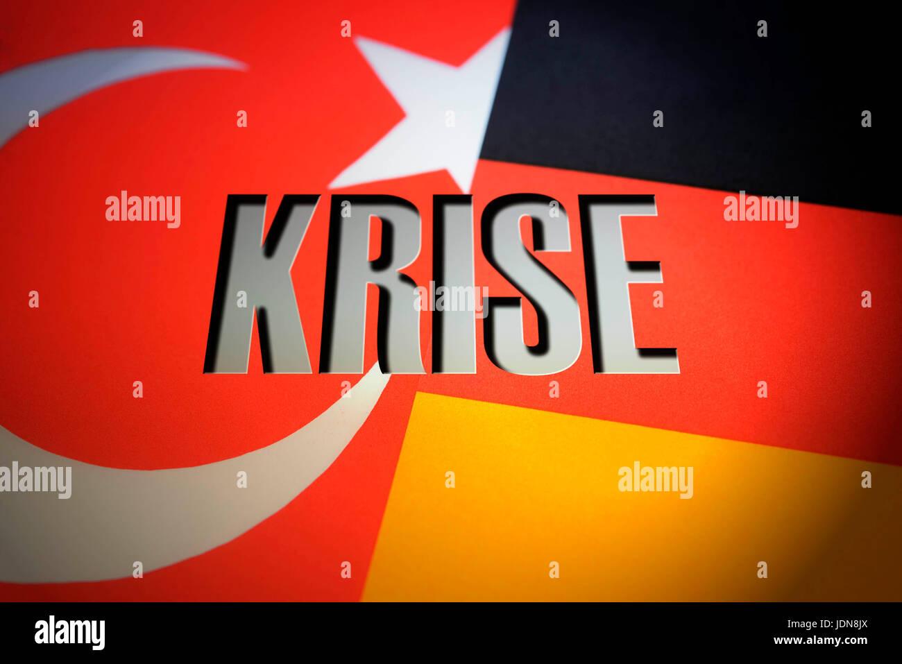 Flags of Germany and Turkey with stroke crisis, crisis in the German Turkish relations, Fahnen von Deutschland und - Stock Image