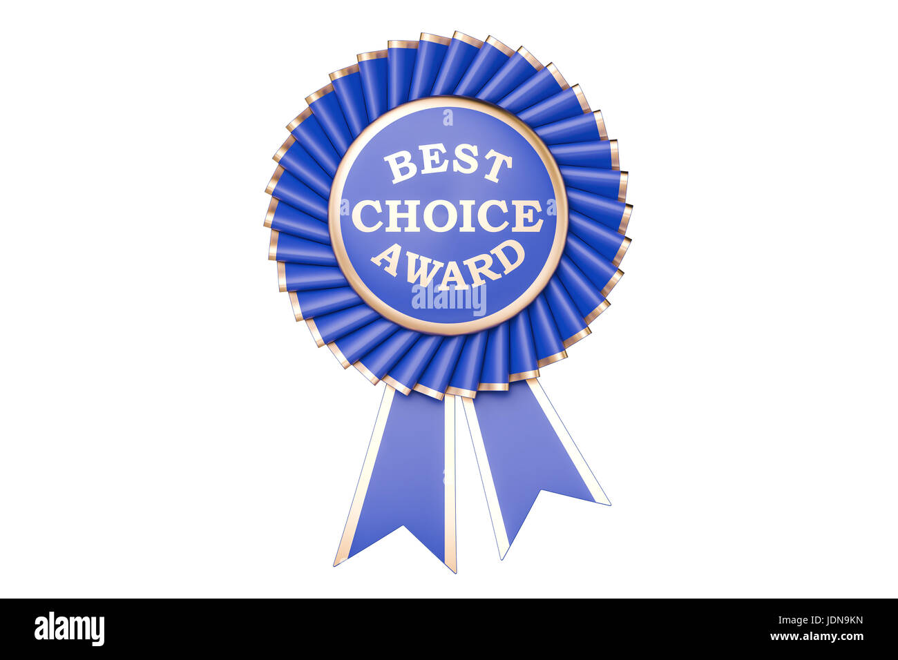 Best choice award, prize, medal or badge with ribbons. 3D rendering isolated on white background - Stock Image