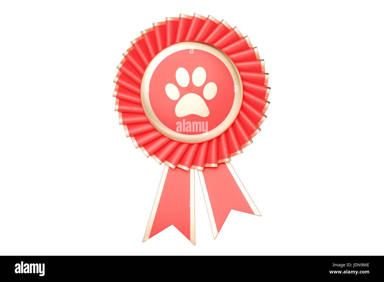 Dog or cat winning award, prize, medal or badge with ribbons. 3D rendering - Stock Image