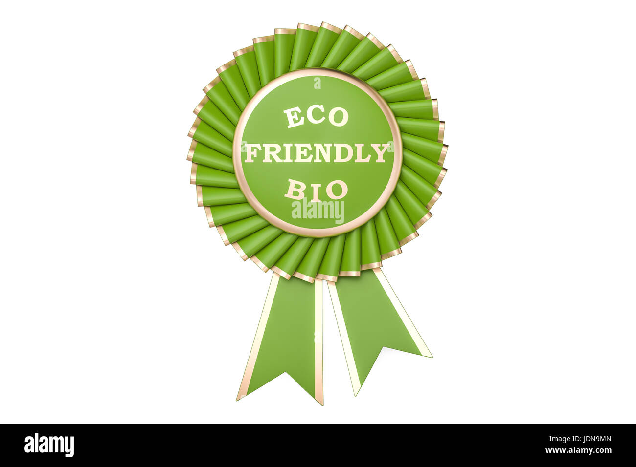 Eco friendly bio award, prize, medal or badge with ribbons. 3D rendering isolated on white background - Stock Image