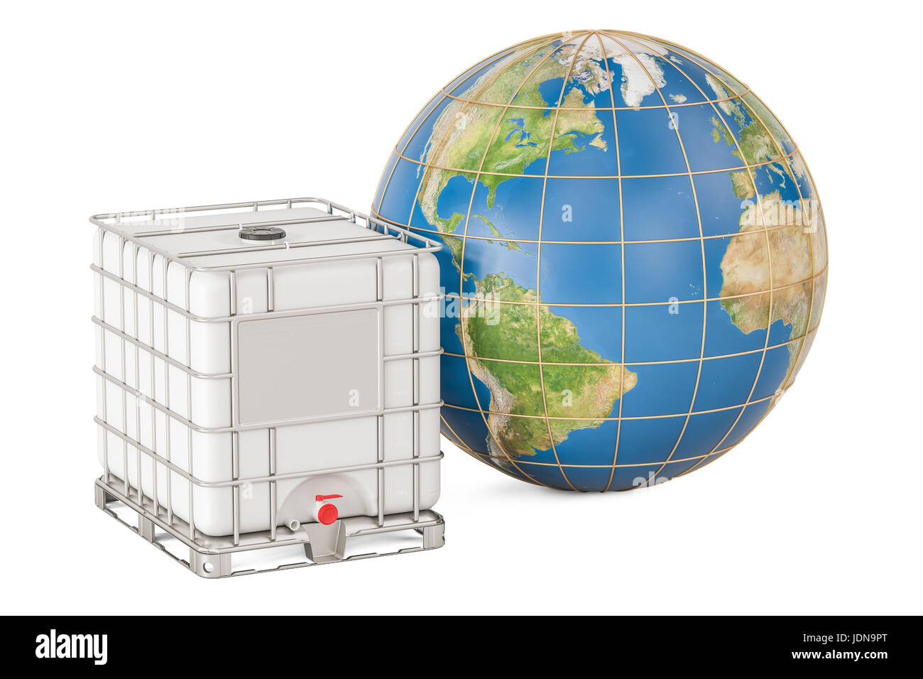 Intermediate bulk container with Earth globe. Transport of liquids around the world, 3D rendering isolated on white - Stock Image