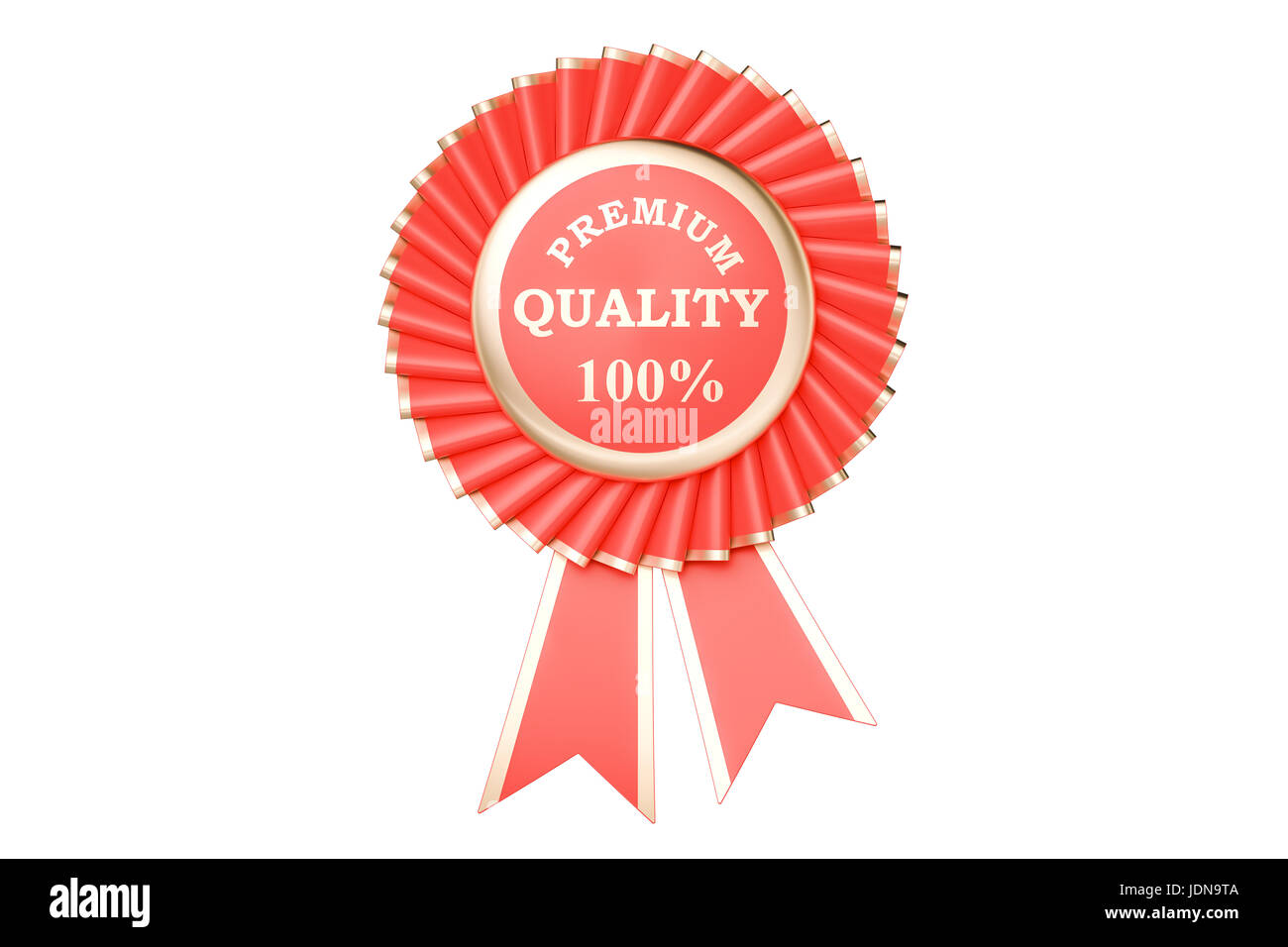 premium quality 100% award, prize, medal or badge with ribbons. 3D rendering isolated on white background - Stock Image